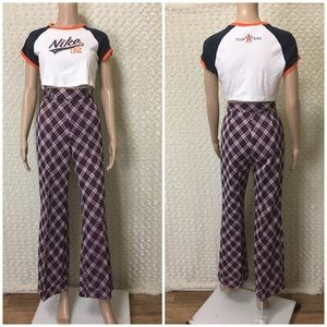 80s Vintage Plaid Wide Leg Super High Rise  Pants